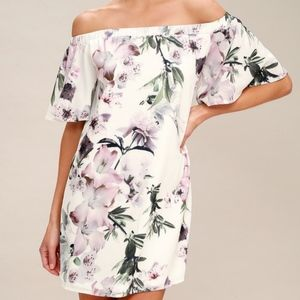 Lulus Floral Print Off-the-Shoudler Shift Dress